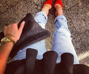 denim, pumps, and red image