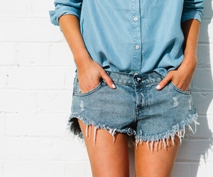 casual, denim shorts, and summer style image