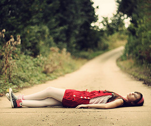 girl, red, and road image