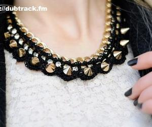necklace, nails, and black image