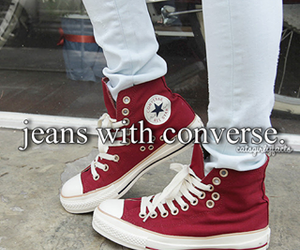 converse, jeans, and red image