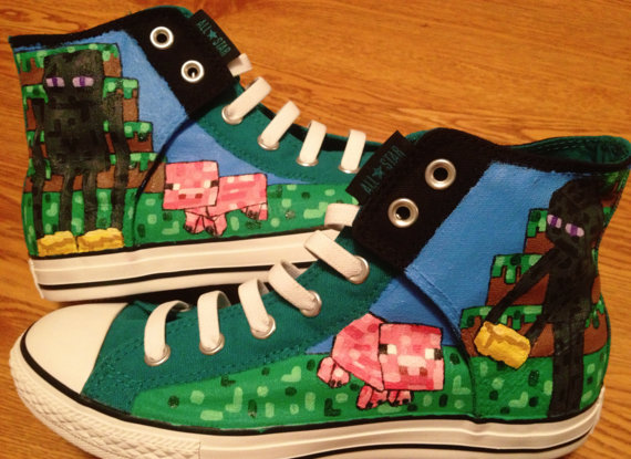 retro authentiek kwaliteit Minecraft Hand Painted Custom Converse Shoes by ...