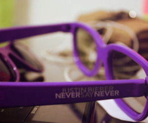 never say never, glasses, and justin bieber image