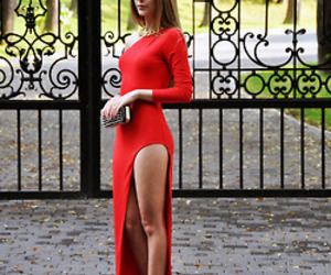 long dress, red dress, and slit dress image