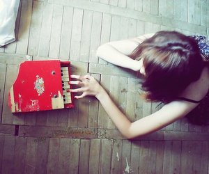 girl, piano, and red image