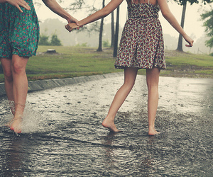 girl, friends, and rain image