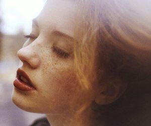 girl, beautiful, and freckles image