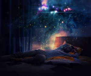 bed, magic, and universe image
