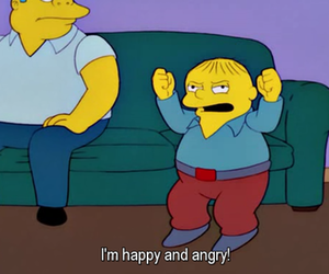 angry, happy, and the simpsons image