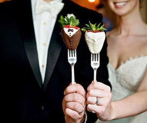 wedding, strawberry, and chocolate image