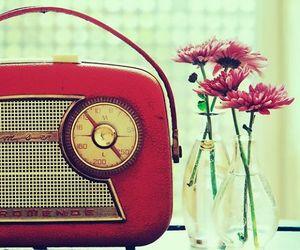 flowers, radio, and vintage image