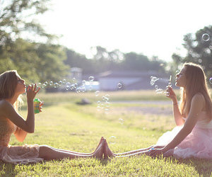 girl, bubbles, and friends image