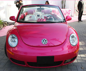 car, pink, and barbie image