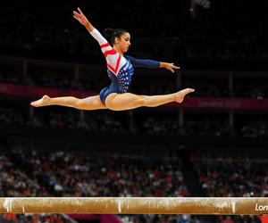 gymnast, gymnastics, and beam image