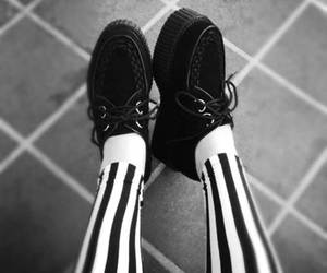 creepers, shoes, and black and white image