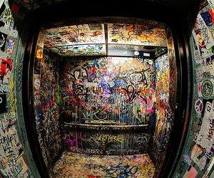 graffiti, elevator, and art image