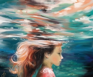 anime, ocean, and paint image