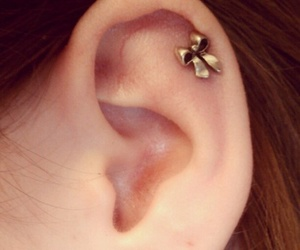 bow, earring, and gold image