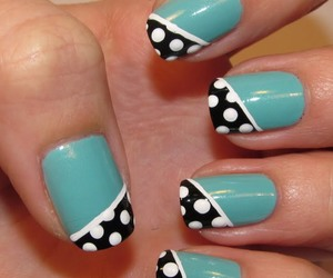 black, black nails, and teal nails image