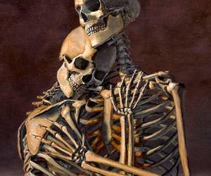 love, skeleton, and skull image