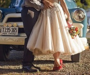 wedding, couple, and car image