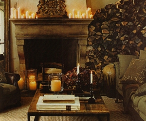 decor, wood, and fireplace image