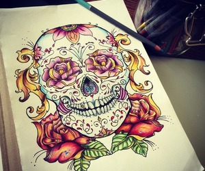 skull, tattoo, and drawing image