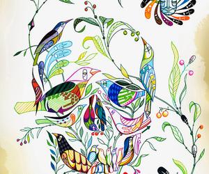 skull, bird, and art image