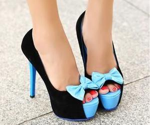 shoes, blue, and black image