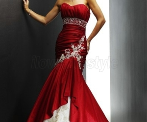 dress, red, and wedding dress image