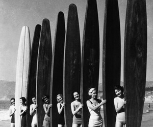 beach, surf, and black and white image