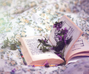 book, flowers, and purple image