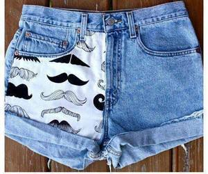 mustache, shorts, and short image