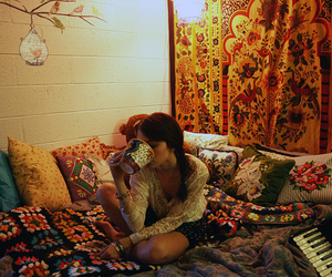 girl, bed, and pillow image
