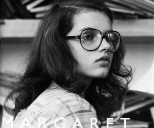 girl, b&w, and glasses image