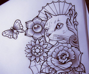 cat, drawing, and tattoo image