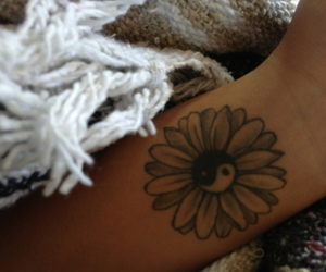 tattoo, flowers, and ying yang image