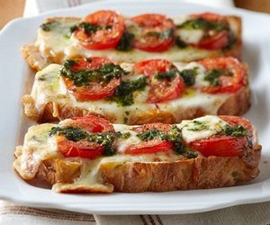 food, cheese, and tomato image