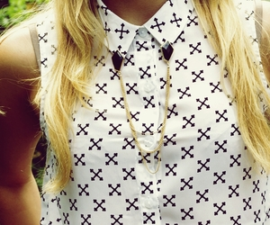 chain, tee, and gold image