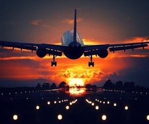 travel, plane, and sunset image