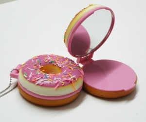 mirror, pink, and donut image