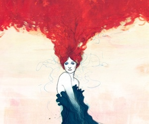 art, red, and red hair image