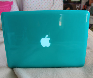 apple, blue, and laptop image