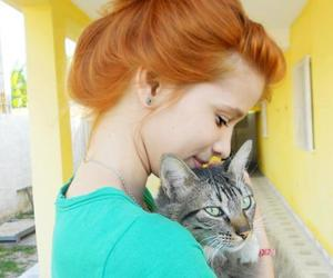 cat, girl, and redhead image