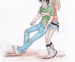 drawing, couple, and percabeth image