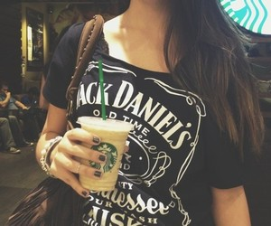 starbucks, girl, and jack daniels image