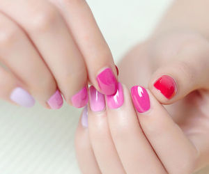 nails, pink, and red image