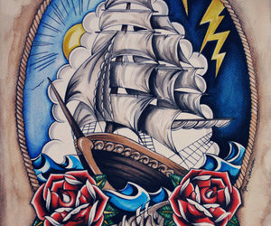 tattoo, drawing, and rose image