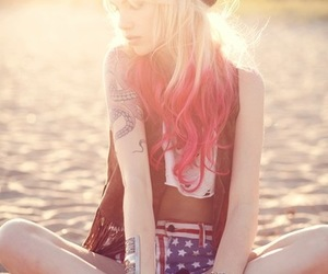 beach, pink hair, and summer image