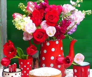 cake, delicious, and flowers image